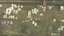 Aerials show US Jewish cemetery damage