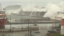 Footage shows Azores storm surge