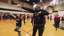 Dancing officer spreads joy at school