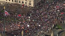 NHS march aerials show Parliament Sq