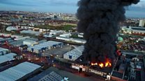 Smoke billows from huge fire in Glasgow
