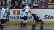 Ice-hockey surprise for two-year-old fan