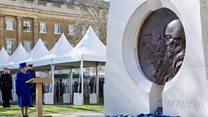 Queen unveils wars memorial in London