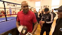 Frank Bruno visits Nottingham boxing school