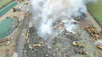 Llandow recycling plant fire burns on
