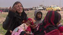 لقطات للنازحين من بادوش غرب الموصل