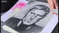 'پیکاسوی کوچک' در اردوگاهی در صربستان نقاشی میکند