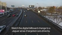 Roadside billboard adapts to car models