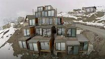 Freight container hotel at ski resort