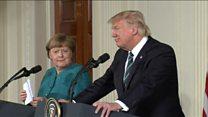 Así fue el primer encuentro entre Donald Trump y Angela Merkel
