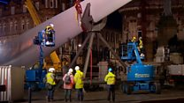 Rotor blade artwork in city dismantled