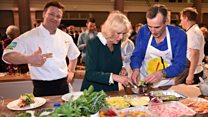 Camilla rustles up a salad with Jamie Oliver