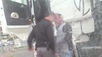 Israeli policeman filmed beating driver