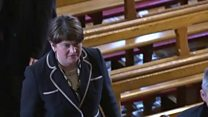 DUP leader Arlene Foster applauded as she enters the church for Martin McGuinness' funeral