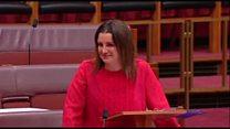 Australian senator weeps over welfare cuts