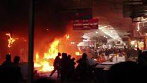 النيران تلتهم سوق النبي يونس بالموصل