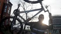 Cyclist filmed smashing a windscreen with a bike