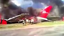 Peruvian plane catches fire