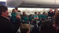Cathedral choir sing on board flight