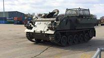 British army send armoured vehicles to Estonia