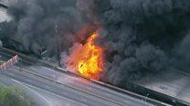 Blaze rips through US highway