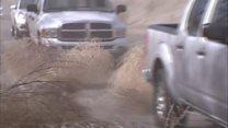Tumbleweeds block roads in California