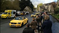 Yellow car convoy rallies in support of 'ugly' car