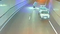 Biker hit by unusual flying object