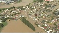 Flood waters inundate NZ town