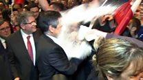 Francois Fillon hit with flour