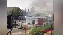 Greater Manchester KFC set on fire by burning car