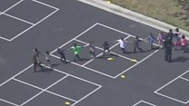 Children flee after US school shooting