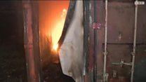 مخيم غراند سينت للاجئين شمالي فرنسا  يحترق