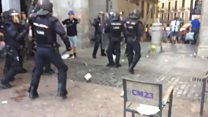 Watch: Trouble in Madrid square