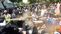 Los violentos enfrentamientos entre partidarios y detractores de Trump en Estados unidos por su declaración de impuestos