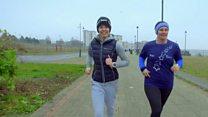Prince William greets marathon runners