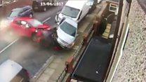Dramatic car crash captured on CCTV