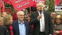 Carwyn Jones welcomes Jeremy Corbyn to Cardiff