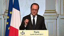 France's Hollande: I vote for Macron