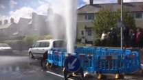 Hydrant burst pumps water 40ft in air