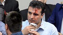 Makedonya'da göstericiler Meclis binasını bastı
