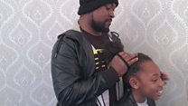 The dads learning to fix girls hair
