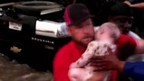 Baby and toddler pulled from flooded car