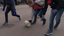 Cheese rolling on the streets of Stilton