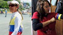 """""""El país está destruido""""/""""Sin revolución no tendríamos escaleras"""": las visiones enfrentadas de dos mujeres que marchan en Venezu"""