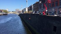 Lifebuoy thrown to cat in Dublin river
