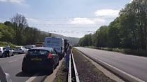 Helicopter lands at A470 crash