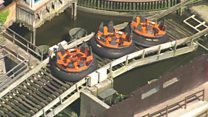 Aerial footage shows deserted theme park