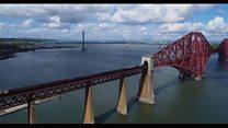 Flying Scotsman crosses Forth Bridge