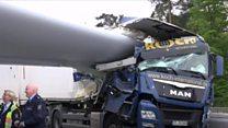 Wind turbine crash on motorway